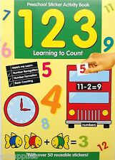 LEARN TO COUNT NUMBERS PRESCHOOL STICKER ACTIVITY EDUCATIONAL BOOK 3-5 yr 201PSS