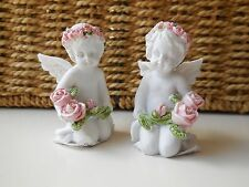 SET OF 2 SHABBY CHIC CHERUB ANGEL FIGURINES WITH ROSES 6CM *NEW *GIFT