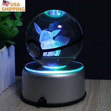 Crystal ball K9 Glass Pokemon GO Eevee 3D LED Night Light Table Desk Lamp Gift