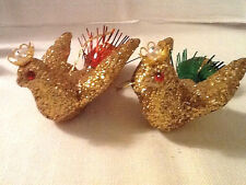 PAIR VINTAGE JAPAN 1970'S GOLD GLITTER BIRDS WITH CROWNS CHRISTMAS ORNAMENTS