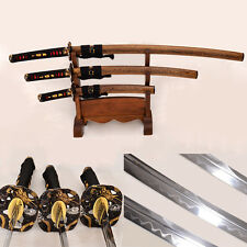 Japanese Samurai Sword Set(Katana+Wakizashi+Tanto) Folded Steel Real Hamon Sharp