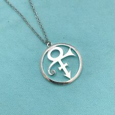 """Prince """"The Love Symbol"""" 1-1/2"""" Silver Charm with Stianless Steel 18"""" Necklace"""