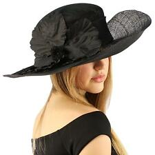 "Fancy Sinamay Kentucky Derby Flip Side 5"" Floppy Flower Feather Church Hat Black"