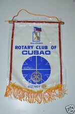 WOW Vintage Cubao Philippines Rotary Club International Wall Banner Flag RARE