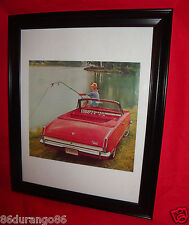 VINTAGE 1964 FRAMED AD CHRYSLER PLYMOUTH VALIANT CONVERTIBLE  OLD AD NEW FRAME