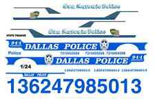 Dallas & San Antonio Police 1/24th - 1/25th Scale WATERSLIDE DECALS (a)