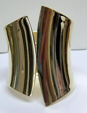 CHUNKY ABSTRACT STATEMENT LARGE CUFF STYLE CURVED BRACELET SHINY GOLD