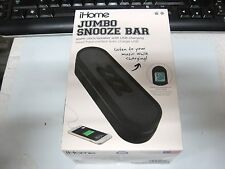 Ihome Im14bc Jumbo Snooze Bar Alarm Clock With Usb Charging black NEW FREE SHIP