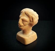 ANCIENT ROMAN RED CERAMIC GAME PIECE GROTESQUE FEMALE HEAD 1st-2rd CENTURY A.D.