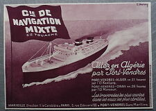 Publicité COMPAGNIE DE NAVIGATION MIXTE PORT VENDRES ALGER   1933 advert
