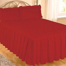 SINGLE BED RED EGYPTIAN COTTON 200 THREAD COUNT FITTED BEDSPREAD & PILLOWSHAM