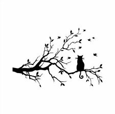 DIY Tree and Black Cat Wall Sticker Home Decor Decal Mural Removable Decoration
