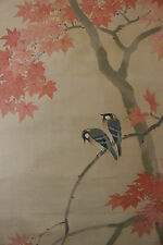 A04C7B ~Cute Little Birds & Gorgeous Maple leaves~ Japanese hanging Scroll