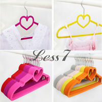 Multicolor Non Slip Flocked Velvet Hangers Clothes Coat Trousers Hanger