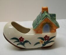 Shoe Planter with House Flowers Moon Window Made in Occupied Japan Vintage