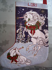 Christmas Candamar Holiday Needlepoint Stocking Kit,UNICORNS,14 Mesh,Floss,17""
