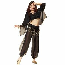 Belly Dance Costume 4 Pics Long-sleeved Top Pant Belt Veil Dancer Costume Outfit