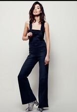 Free People Teague Retro Overalls Flared Leg Jeans In Off Black Sz 29
