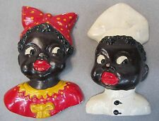 Black Americana PAIR OF BLACKS hand painted plaster figural wall plaques 1950's