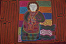 Vintage Handsewn Traditional Mola Art Applique Kuna Indian Woman Holding Pet 32B
