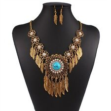 Blue Crystal Turquoise Leaf Pendant Alloy Choker Necklace Bib Dangle Earring Set