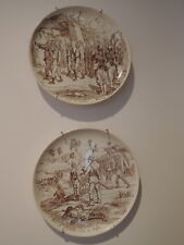 "Antique French Brown Transferware Pair of Plates African Slave Soldiers 8"" Plate"