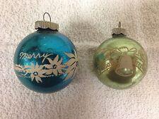 2 Vintage Shiny Brite Stencil Merry Christmas Seasons Greetings Ornaments USA