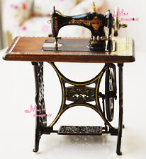 Quality Dark Coffee Sewing Machine Sewing table 1:12 Dollhouse Miniature