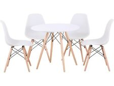 New Art Deco Tegan Eames Dining Tea Set Round Table & 4 Chairs White Wood 80CM