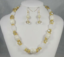 Natural Stone and White Beaded Necklace With Matching Dangling Earrings