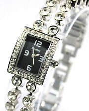 Ladies Henley Dress Watch with Double Row of Real Sparkly Crystals, Black Face
