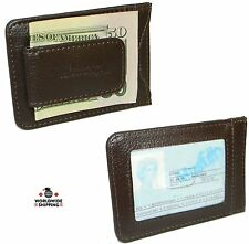 Men's Cowhide Leather Money Clip Wallet Credit Card ID Holder Front Pocket Case