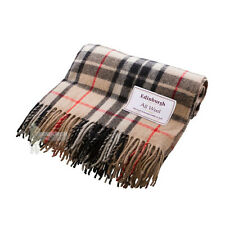EDINBURGH - PURE WOOL SCOTTISH TARTAN RUG / BLANKET / THROW - THOMSON CAMEL