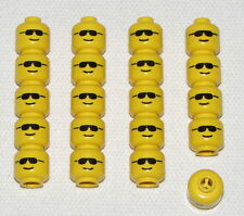 LEGO LOT OF 20 MINIFIGURE HEADS WITH SUNGLASSES AND GRIN PATTERN PIECES