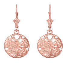 14k Rose Gold Textured Sand Dollar Sea Star Drop / Dangle Leverback Earrings
