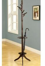Monarch Specialties Cappuccino 6 Hook Coat Stand Tree Rack Hooks Hat Hanger NEW