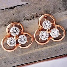Fashion jewelry Womens clover jewelry Crystal Stud Earrings Rose Gold Filled