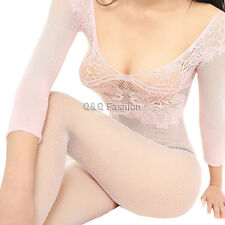 Pink Fishnet Lace Lingerie Babydoll Teddy Cat Body Suit Stocking Leotard Corset