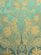 Harlequin Curtain Fabric AKIRA 2.35m Marine/Gold - Silk Mix Damask Weave Design