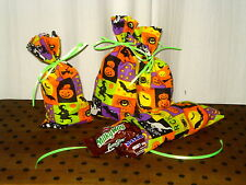 Halloween Fabric Gift Treat Favor Party Bags Witches Ghosts Spiders Pumpkins Cat
