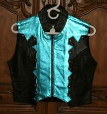 Women's Western Cowgirl Rodeo Black/Teal or Black/Pink Leather Vest