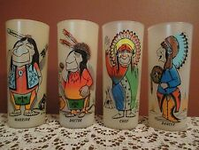 Vintage Bill Lores Humorous Indian Glasses SET of 4 Doctor Chief Dancer Warrior