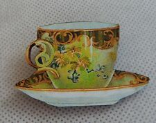 Vintage Style Floral Teacup Brooch or Scarf Pin Fashion Wood Accessories