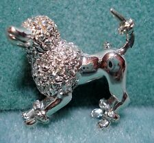 Vintage Poodle Dog Puppy Pin Brooch Rhodium Plated