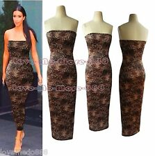 WOMENS Tube Strapless Shinny Leopard CLUBWEAR tight fitted bodycon MIDI DRESS XL