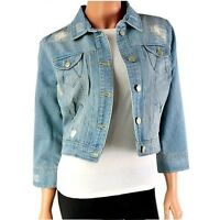 NEW LOOK LUXURY DENIM JACKET WOMENS LADIES CROPPED JEAN BLUE WESTERN COAT SUMMER