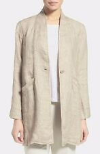 XL EILEEN FISHER Natural Organic Linen Doubleweave Stand Collar Coat Jacket NWT