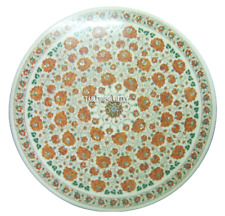 """24"""" Marble Round Coffee Table Top Marquetry Hakik Stone Inlay Garden Decor H2306"""