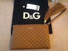 *BNWT* 100% AUTHENTIC DOLCE GABBANA D&G QUILTED LEATHER TASSLE CHARM CLUTCH