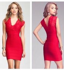 NWT bebe crimson red deep v neck lace bandage club party sexy top dress XS 0 2